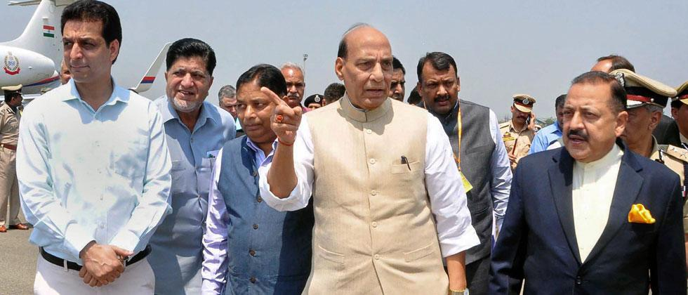 Union Home Minister Rajnath Singh with MoS in PMO Jitendra Singh arrive for a 2-day visit, in Srinagar on Thursday, June 07, 2018. PTI Photo