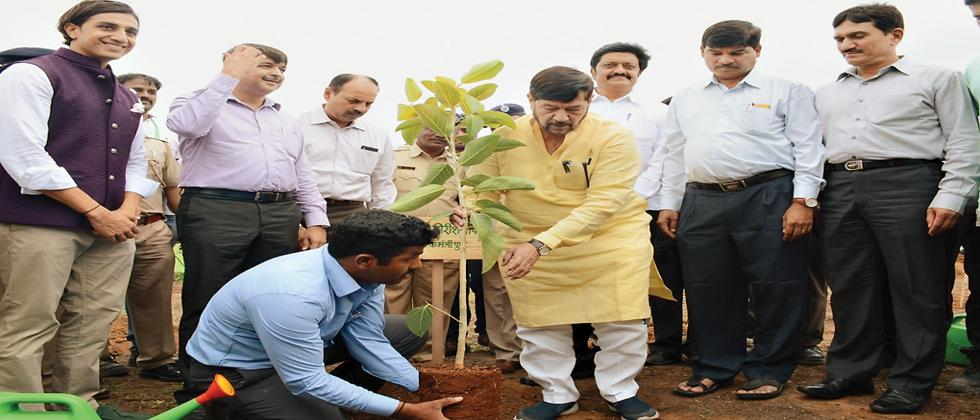 Pune District Guardian Minister Girish Bapat (C) planting a  tree to mark the week long tree plantation drive it. MP Anil Shirole, Pune Divisional Commissioner Chandrakant Dalvi, MP .