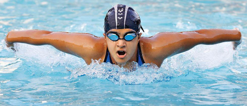 Aarya Rajguru  in action at National Junior Aquatic Chamionship at Balewadi Sports Complex, Swimming Pool on Monday.