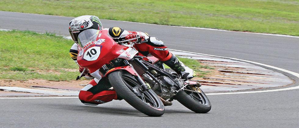 Mithun Kumar, winner of the Pro-Stock race, in action on Sunday.