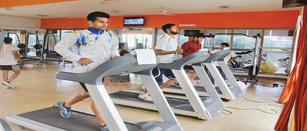Deepak Hooda, Captain of Puneri Paltan during gym session at Symbiosis International University at Lavale Campus.