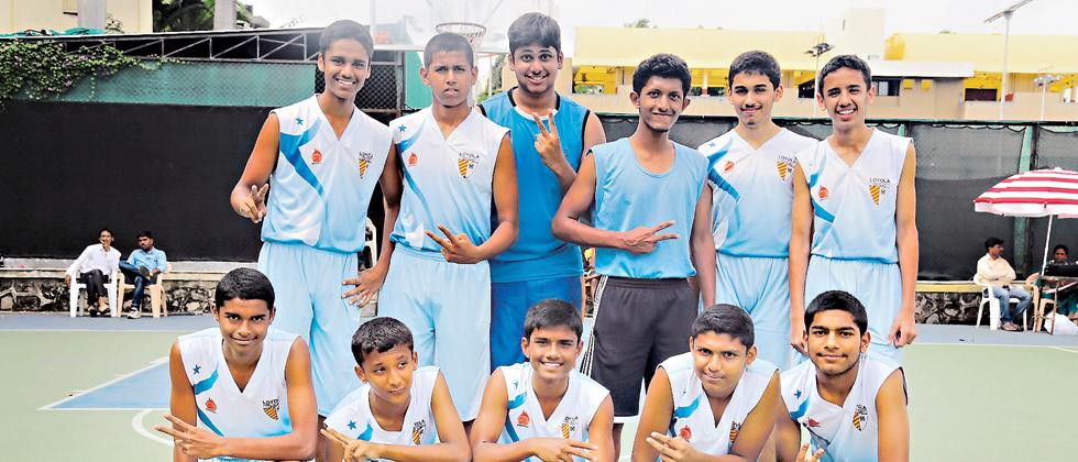 Loyola School boys pose for the picture after winning the Under-17 boys title in the Inter School District basketball tournament at Deccan Gymkhana on Saturday.