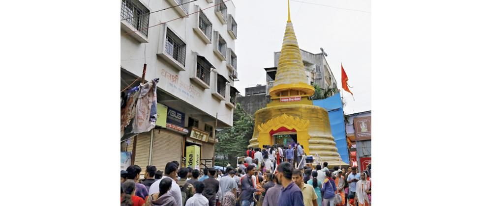 Navgraha Mitra Mandal near Kasba Peth has built a Buddhist Pagoda (as decoration) for this year's Ganesh festival to denote a message of equality.
