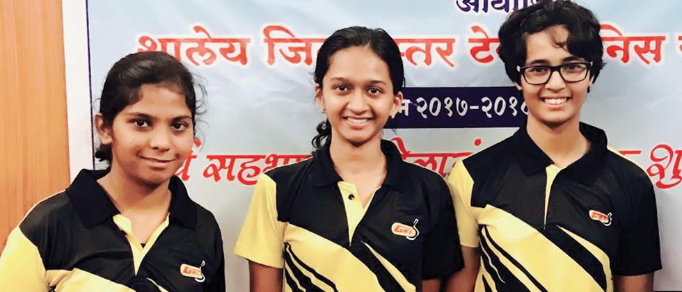 Fergusson College girls team pose for a picture after winning the Under-19 title in the Zilla Parishad Table Tennis tournament at Symbiosis College, Prabhat Road, on Friday.