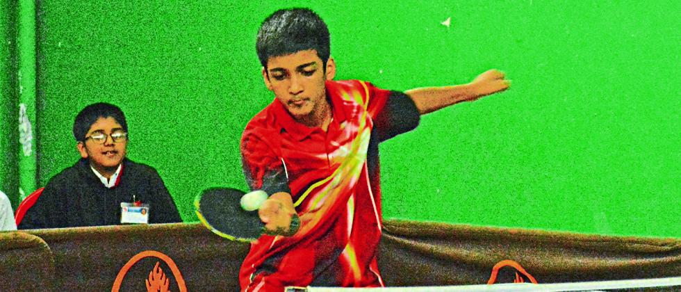 Mihir Mohite of Millenium School in action during the semifinal match against Symbiosis School on Saturday.