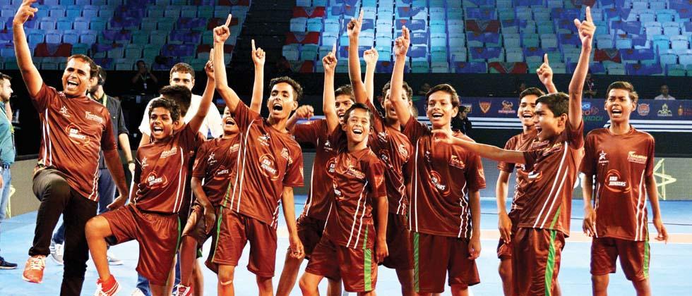 Players of Sarvodaya Bal Vidyalaya celebrate after their win.
