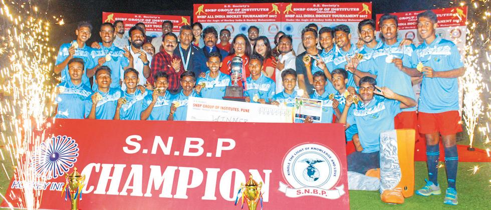 MP Academy team pose for the picture after winning the SNBP All-India Hockey Tournament at Balewadi Sports Complex.