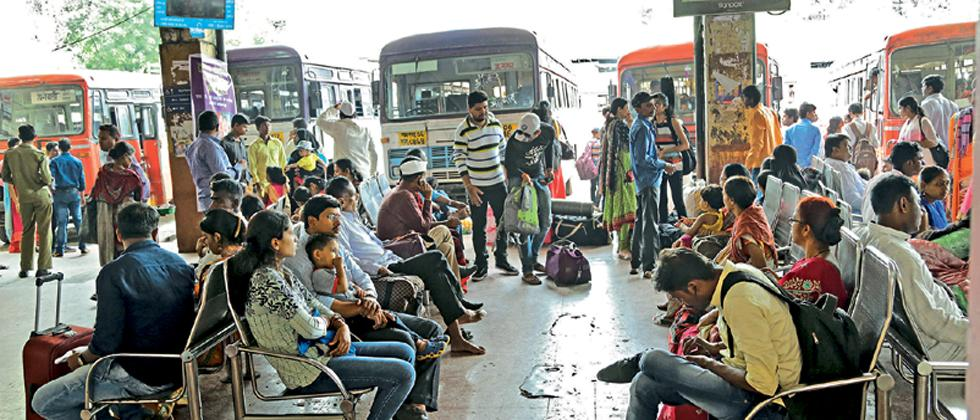 Passengers waiting at Shivajinagar ST bus station.