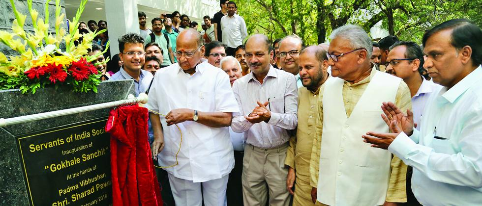Sharad Pawar inaugurating the Gokhale Sanchit building in city on Wednesday. Also seen are (next to Pawar) GIPE Director Rajas Parchure, City Congress leader Ankush Kakade, SIS former president Atmanand Mishra and Secretary Milind Deshumukh.