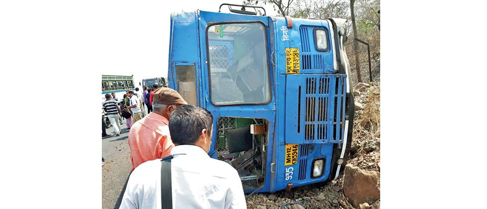 The PMPML bus that met with an accident on the old Pune-Mumbai Highway on Monday. Around 15 people were injured in the incident.