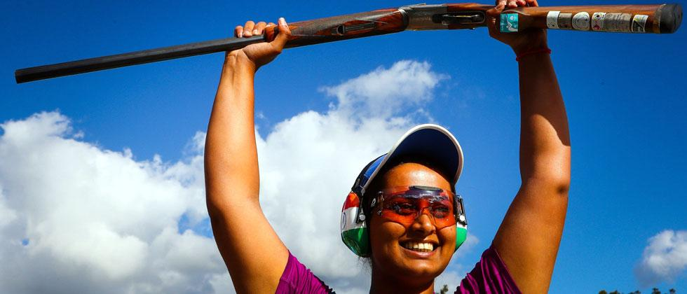 India's Shreyasi Singh celebrates her victory following the women's double trap shooting event finals in the 2018 Gold Coast Commonwealth Games. Patrick Hamilton/AFP