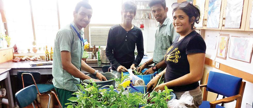 Sukriti Gupta indulging in some gardening along with the kids