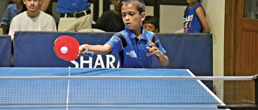 Swaroop Bhadalkar in action during the Sharada District Table Tennis Tournament