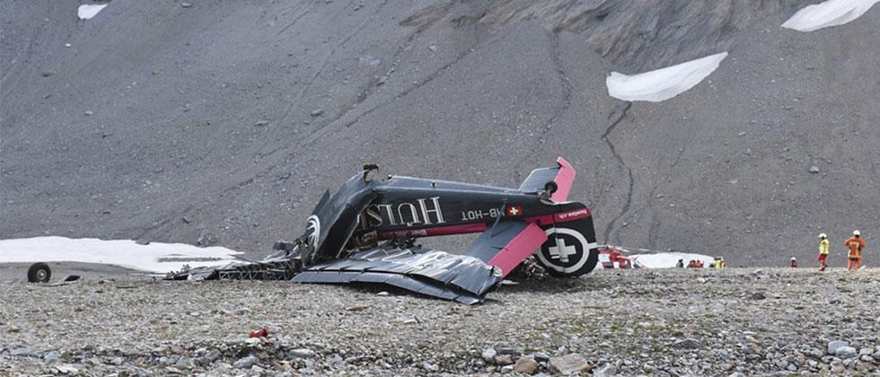 The photo provided by Police Graubuenden shows the wreckage of the old-time propeller plane Ju 52 after it went down went down Saturday Aug, 4 2018. AP/PTI Photo