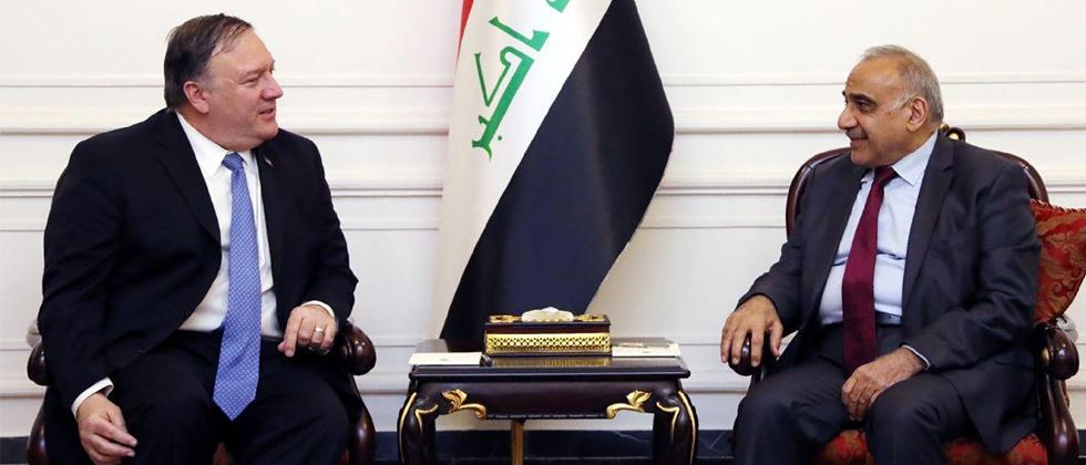 Picture released by Iraq's Prime Minister's Media Office on May 8, 2019 shows Iraqi PM Adel Abdul Mahdi (R) during his meeting with US Secretary of State Mike Pompeo in Baghdad. Photo by IRAQI PRIME MINISTER'S PRESS OFFICE/AFP