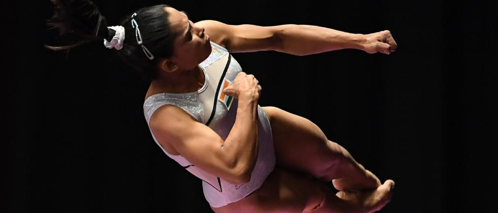 Dipa Karmakar participates on the vault in the women's qualification one of the artistic gymnastics event during the 2018 Asian Games in Jakarta on August 21, 2018