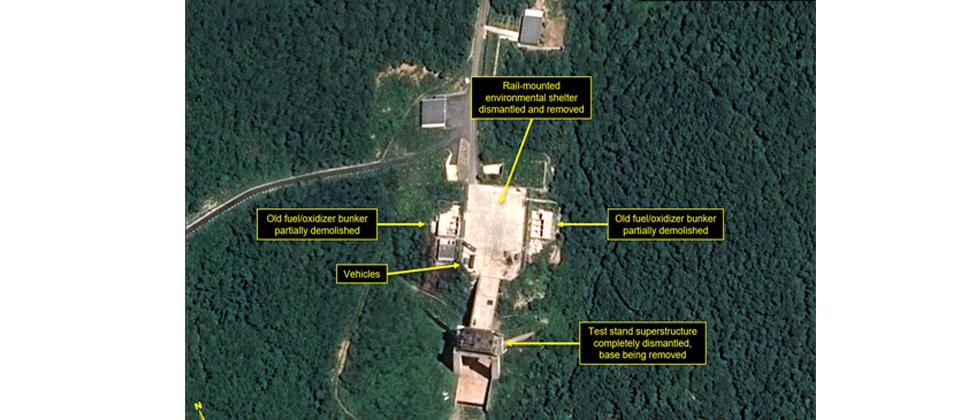Satellite image courtesy Airbus Defense and Space and 38 North dated July 22, 2018 and obtained on Monday shows the apparent dismantling of facilities at the Sohae satellite launching station, North Korea.
