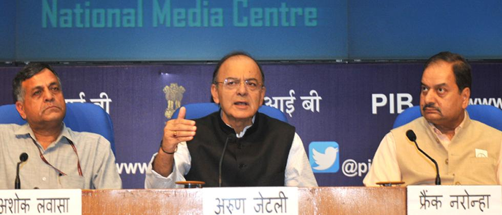 The Union Minister for Finance and Corporate Affairs, Arun Jaitley addressing a press conference, in New Delhi on October 24, 2017. The Finance Secretary, Ashok Lavasa and the Principal Director General (M&C), Press Information Bureau, A.P. Frank Noronha