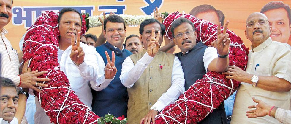 A file photo of CM Devendra Fadnavis, Mumbai BJP President Ashish Shelar, Maharashtra BJP President Raosaheb Danve and Education Minister Vinod Tawde during the Bharatiya Janata Party's BMC election victory celebration