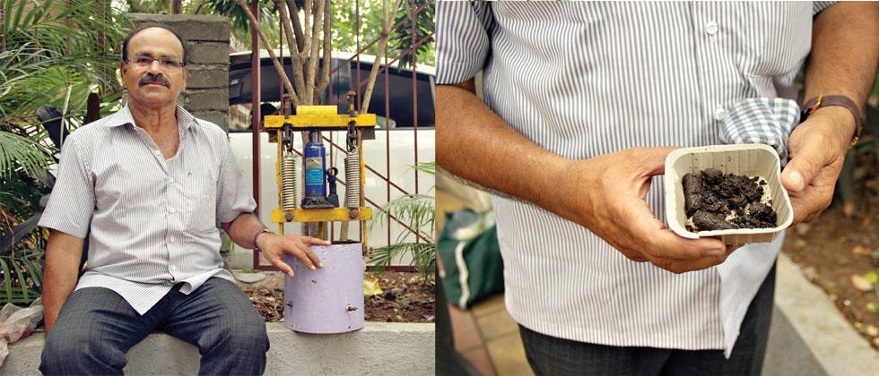 Vaibhav Modak with the organic fertiliser machine