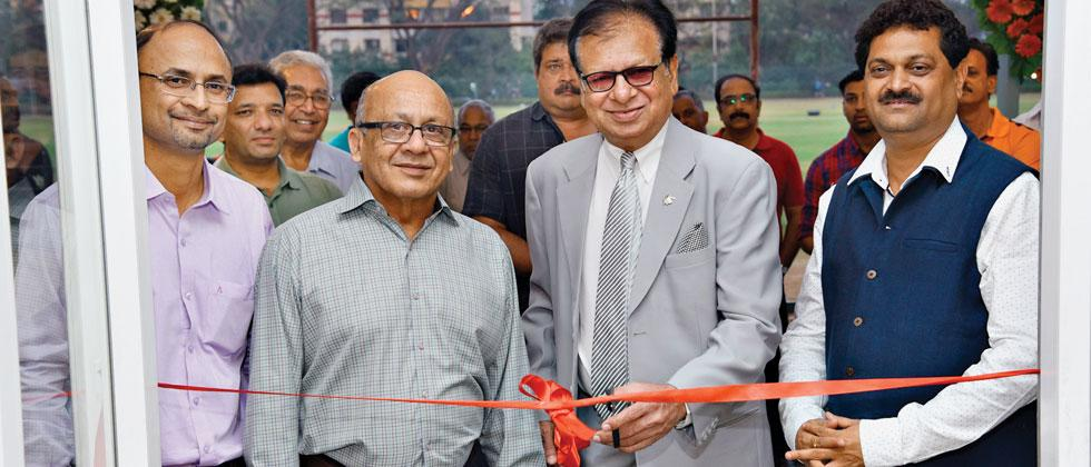 Former Indian cricketer Karsan Ghavri inaugurates the Deccan Gymkhana pavilion. Also seen are (from left to right) Mangesh Bhuskute, Suhas Talim and Ajay Gupte