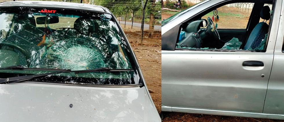 Hooligans vandalised the car of an Army officer in Khadki Cantonment area
