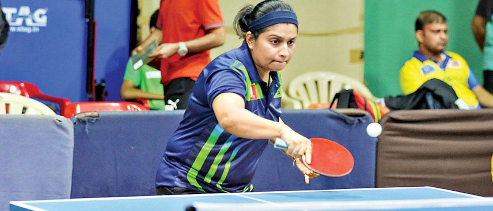 Mrunmayee Mhatre in action against Vidhi Shah at Symbiosis Sports Centre on Wednesday