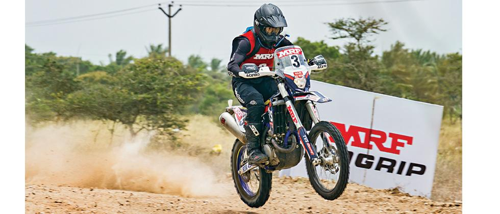 Harith Noah of Team TVS Racing in action during 2W Rally of Coimbatore on Sunday.