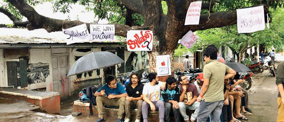 FTII second year students protesting in the campus on Thursday.
