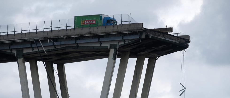 A picture taken on Wednesday in Genoa shows a view of the Ponte Morandi motorway bridge, after one of its section collapsed injuring several people.