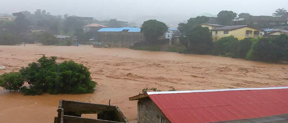 "This handout picture released on August 14, 2017, by Society 4 Climate Chnage Communication Sierra Leone, shows flooded streets in Regent near Freetown. AFP PHOTO / ""S4CCC-SL"