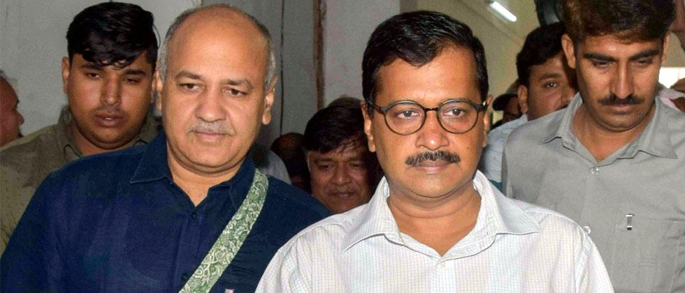 Delhi Chief Minister Arvind Kejriwal and Deputy Chief Minister Manish Sisodia arrive to present the Delhi government budget for 2018-19 in Delhi Assembly in New Delhi on Thursday. PTI Photo