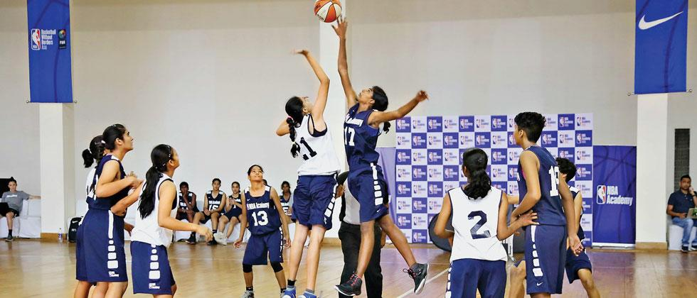 Indian Under-17 girls in action during NBA Academies Women's Program at its India centre in Greater Noida at Jaypee Greens Golf Resort on Monday