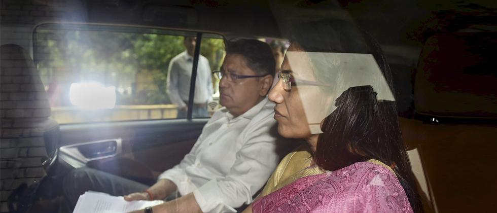 Former ICICI Bank CEO Chanda Kochhar and her husband Deepak Kochhar arrive to appear before Enforcement Directorate in connection with a bank loan fraud and money laundering case probe, in New Delhi on May 13, 2019. PTI Photo