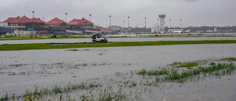 Submerged area near Cochin International Airport after monsoon rainfall, in Kochi on Wednesday, Aug 15, 2018.