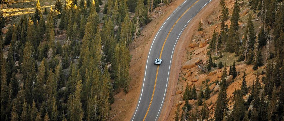 IDR Pikes Peak, the all-electric Volkswagen car during the qualifying run of International Hill Climb on Wednesday