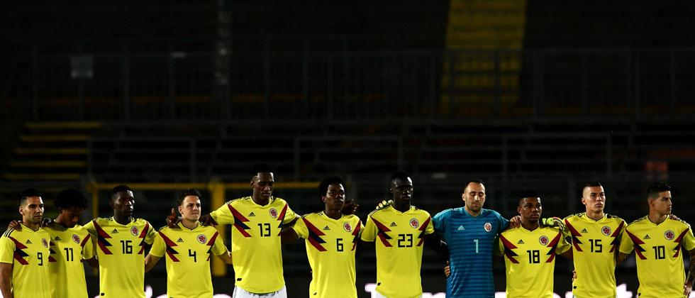 "Colombia national team pays tribute to Alejandro Penaranda during the international friendly football match between Egypt and Colombia at ""Atleti Azzurri d'Italia Stadium"" in Bergamo on June 1, 2018. Marco Bertorello/AFP"