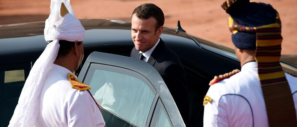 France's President Emmanuel Macron leaves after a ceremonial reception at the Indian Presidential Palace in New Delhi. Photo/Money Sharma/AFP