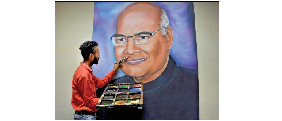 A file photo of artist Jagjot Singh Rubal finishing his painting of President elect Ram Nath Kovind.