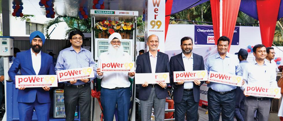 HPCL Chief General Manager Kanaru Shriniwas (4th left) and HPCL Deputy General Manager Rajesh Tupkar (5th left) at the launch event of its first Octane 99 petrol station in the city at HPCL Chatuhshrungi service station on SB Road