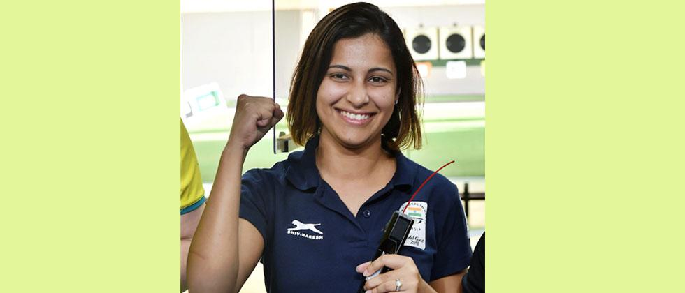 Indian shooter Heena Sidhu celebrates after winning gold in the Womens 25m Pistol final event during the Commonwealth Games 2018, at Belmont Shooting Centre in Brisbane, Australia on Tuesday. Manvender Vashist/PTI