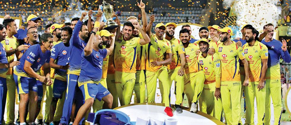 Chennai Super Kings players celebrate winning the IPL 11 after they beat the Sunrisers Hyderabad at the Wankhede Stadium in Mumbai on Sunday