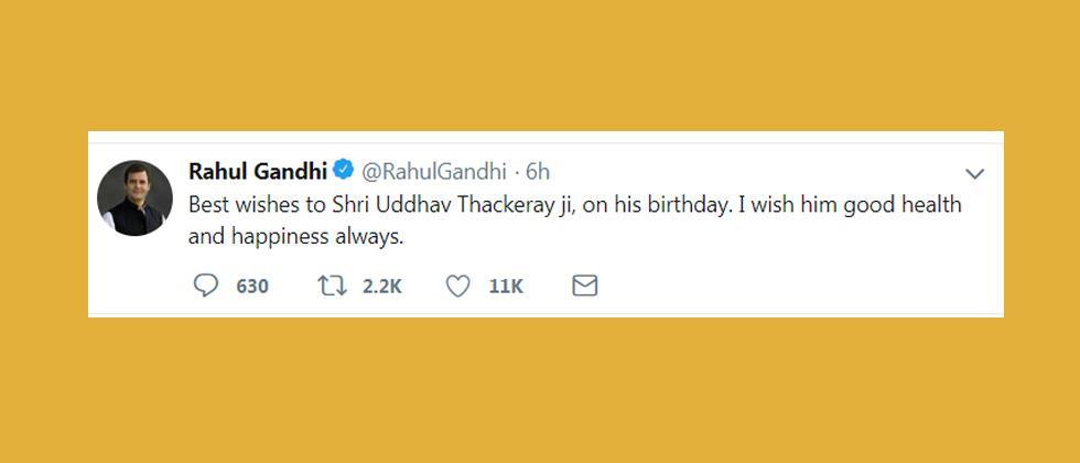 Uddhav gets birthday greetings from Rahul, eyebrows raised