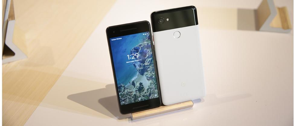 The new Pixel 2 and Pixel 2 XL smartphones are seen at a product launch event on October 4, 2017 at the SFJAZZ Center in San Francisco, California.