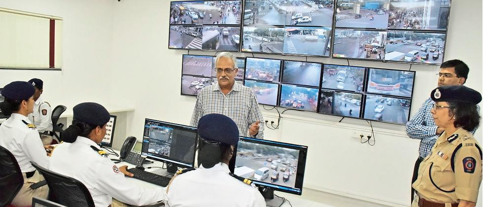 DGP Satish Mathur and Police Commissioner Rashmi Shukla at the new Central Traffic Management Centre on Saturday.