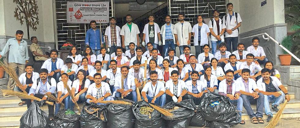 Striking interns take up cleanliness drive