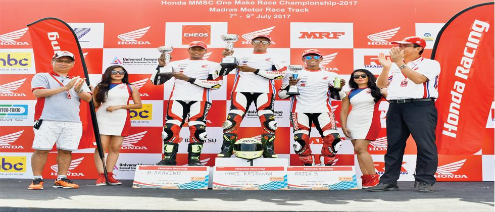 Honda riders dominated the second round of the national two wheel championship in Chennai.