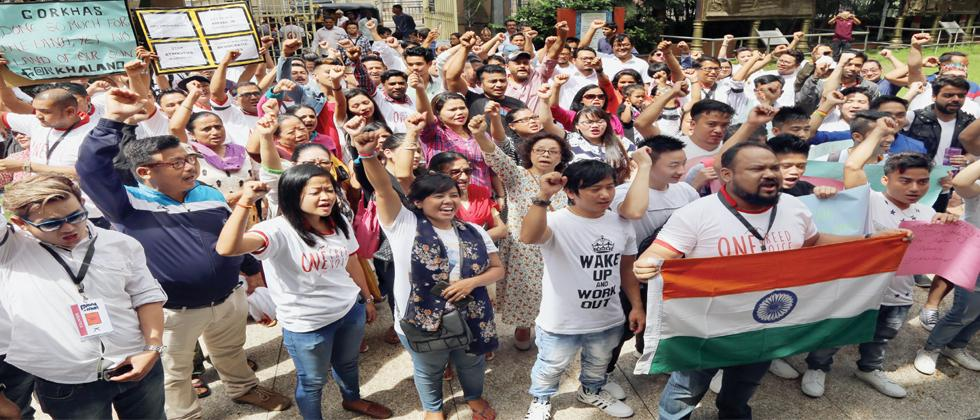 Participants shout slogans during  Global Gorkha Unity march on Sunday in the city.