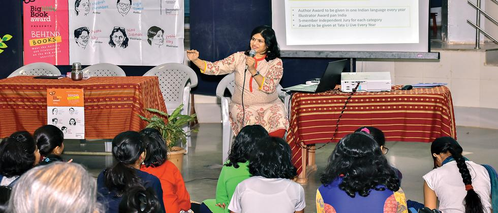 Swaha Sahoo in a discussion with children on the importance of reading, in a lead up to the BLBA awards