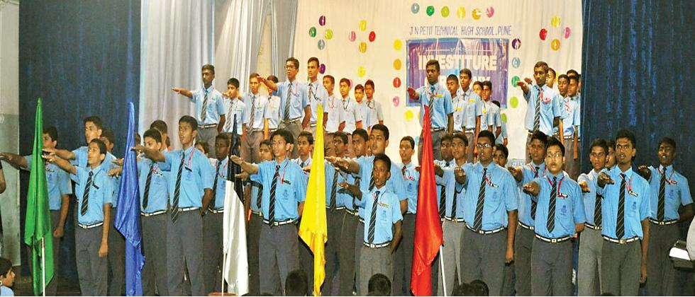 Students of JN Petit Technical High School during the investiture ceremony on Wednesday.